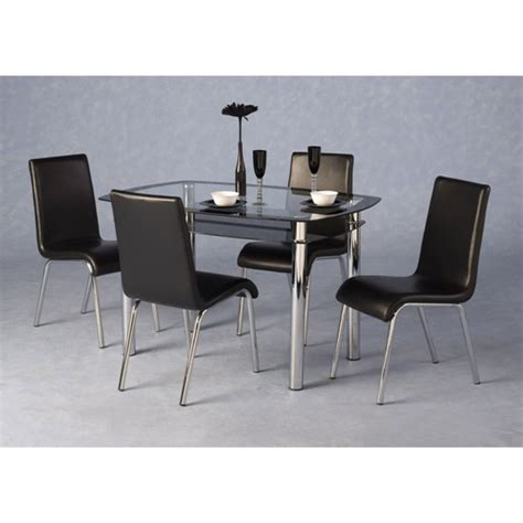clear glass dining table and 4 chairs harley black and clear glass dining table and 4 black