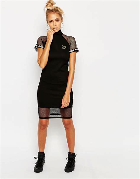 Puma Exclusive To Asos Bodycon Dress With Mesh Inserts in Black | Lyst
