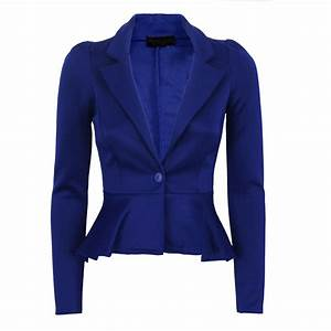 WOMENS LADIES LONG SLEEVE PEPLUM FRILL BLAZER OFFICE WORK ...