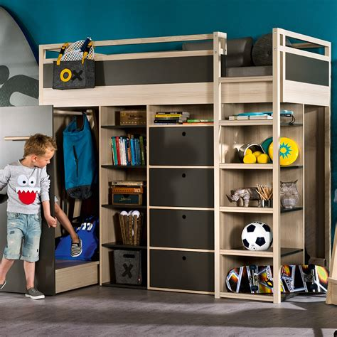 childrens bedside ls bedroom spot high sleeper storage kids bed in acacia graphite