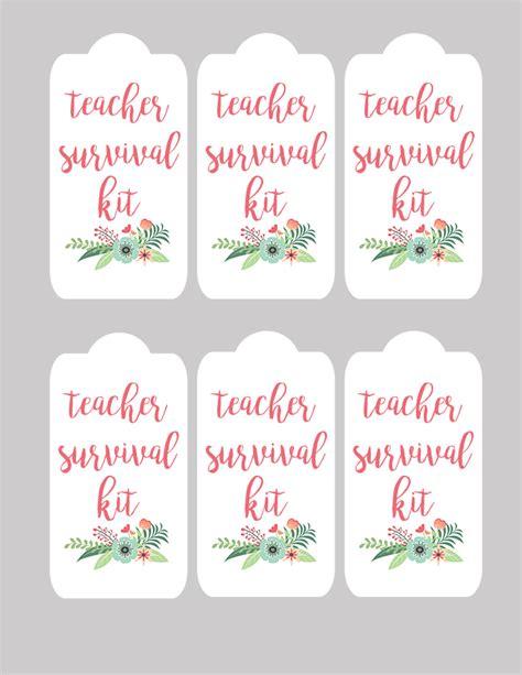 printable teacher survival kit gift  tags