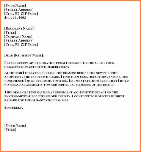 Formal Format Of Resignation Letter by 5 Formal Resignation Letter Sle 1 Month Notice