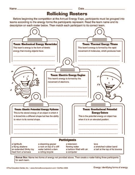 forms of energy worksheet electricity science