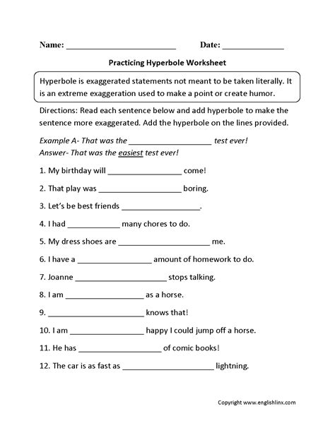 figurative language worksheets hyperbole worksheets
