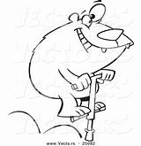Stick Coloring Pogo Bear Cartoon Outlined Jumping Toonaday sketch template