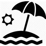 Beach Icon Umbrella Sun Waterfront Icons Water