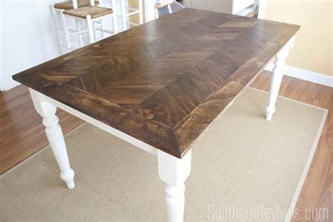 wooden table with tile top from tile top to herringbone table makeover pt 2