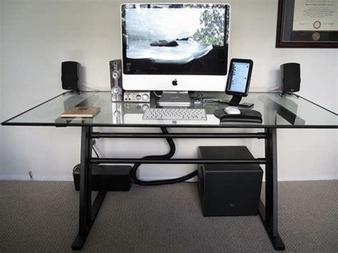 best home computer desk modern glass top computer desk design with white keyboard