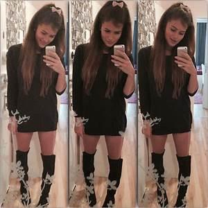Michaela M. - Hu0026M Overknee Boots Hu0026M Oversized Sweater - Ariana Grande Style | LOOKBOOK