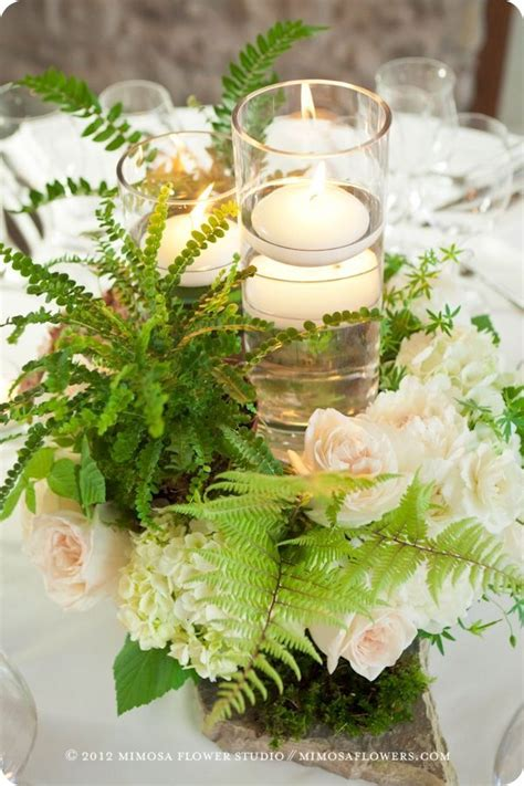 Green Ferns With Delicate Blooms As Centerpiece Wedding