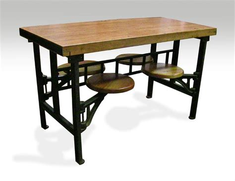 Swing Table by Four Seat Swing Seat Industrial Factory Table Olde