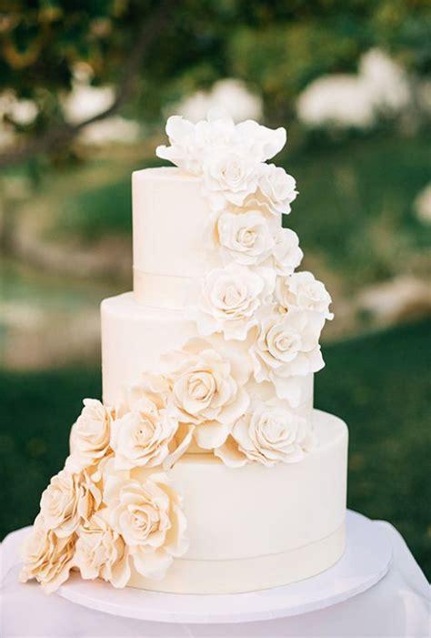 Three Tier Off White Sugar Flower Wedding Cake Wedding