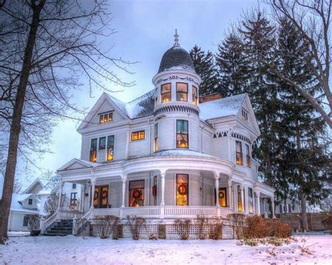 victorian  christmas time snow adds   beauty