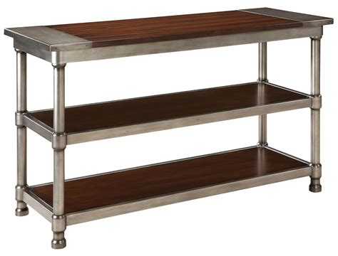 contemporary 2 shelf console table with plank style wood