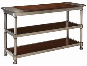 contemporary, 2, shelf, console, table, with, plank