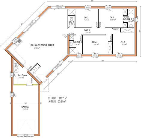 plan villa plain pied 4 chambres prévisions de maisons à contruire en loire atlantique 44