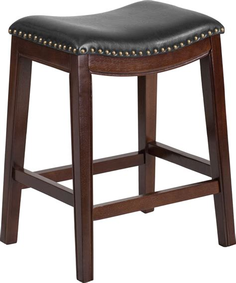 leather backless counter stools 26 high backless cappuccino wood counter height stool 6884
