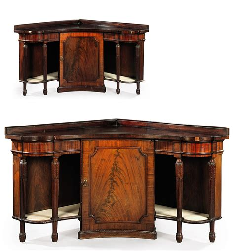 Corner Sideboards by A Pair Of George Iii Mahogany Concave Corner Sideboards