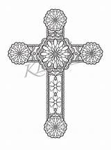 Coloring Cross Adults Designs Relax Pages Adult Instant Printable Celtic sketch template