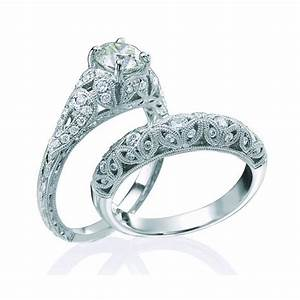 Vintage round cut diamond wedding ring set for her on for Diamond wedding ring sets for her