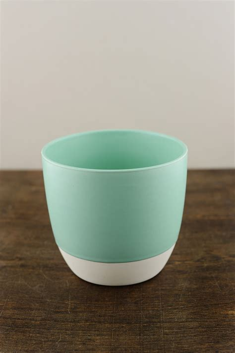 bumble ceramic flower pots    aqua