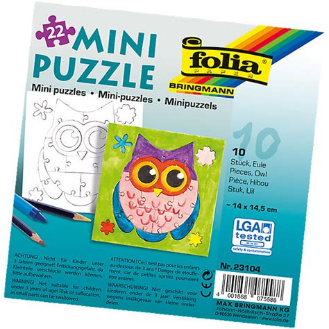 Puzzle Le Anleitung Partypack Motiv Puzzle Eule 10 X 22 Teile Folia Mytoys