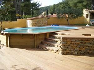 Piscine Bois Semi Enterrée : piscine bois octogonale allong e semi enterr e toulon var ~ Melissatoandfro.com Idées de Décoration