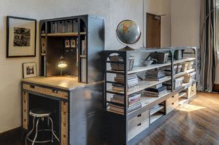custom metal wood shelf desk  drawers
