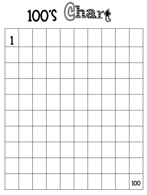 blank number chart   activity number chart math