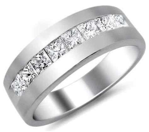 mens 1 0ct princess cut diamond wedding band ring platinum