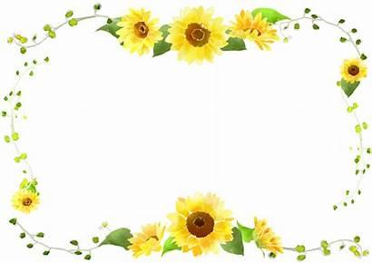 Sunflower Border Frame Clipart Flower Marco Aesthetic