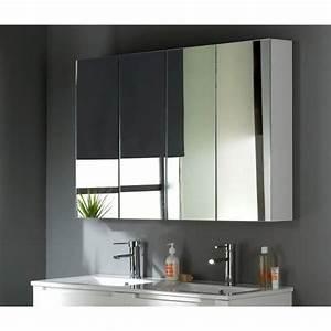 armoire miroir 120 cm blanc laque achat vente miroir With miroir salle de bain 120 cm