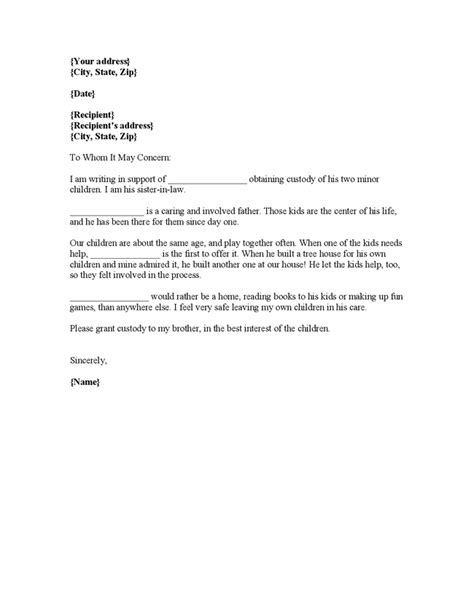 sample character reference letter  court child custody