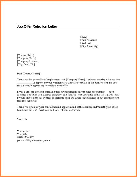 Thank You Letter For Rejection by 5 Offer Rejection Letter Marital Settlements
