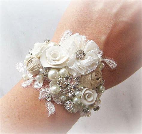 vintage style bridal cuff bracelet wrist corsage custom