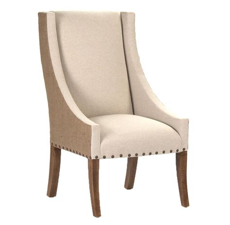 shipley french country burlap  tone dining arm chair