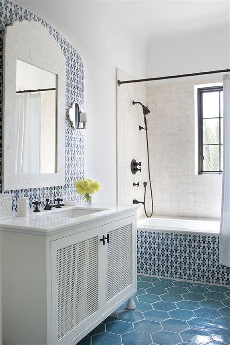 white  blue moroccan style bathroom mediterranean