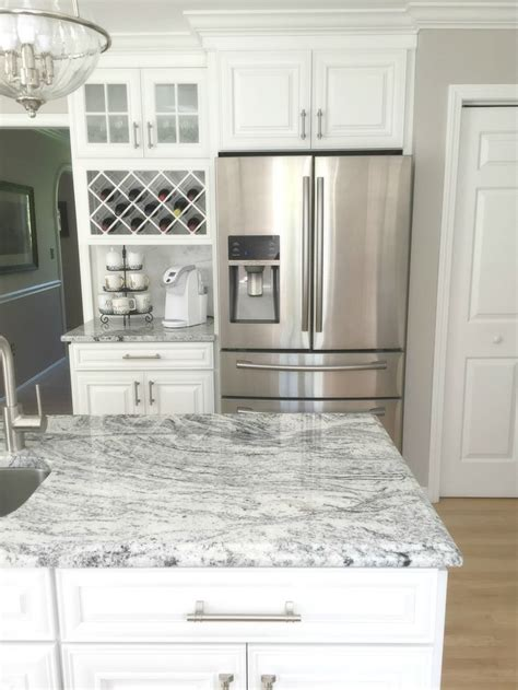 transitional kitchens  haves viscon white granite