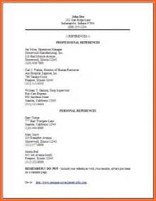 Exle Of Employment References by Professional Reference Page Soap Format