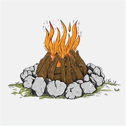 Campfire Vector Drawn Sketch Clipart Hand