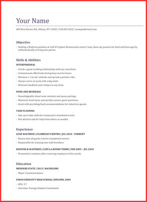 Waitress Resume by Waitress Application Resume Format