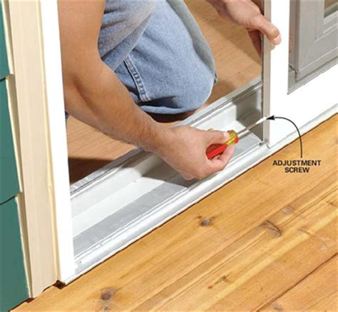adjusting a sliding screen door so it does not stick