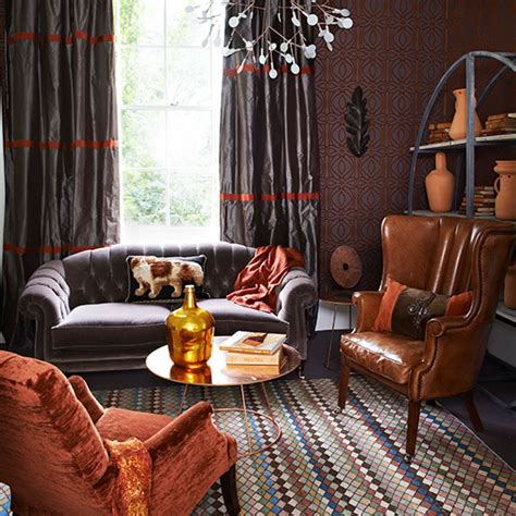 rich taupe and burnt orange living room living room