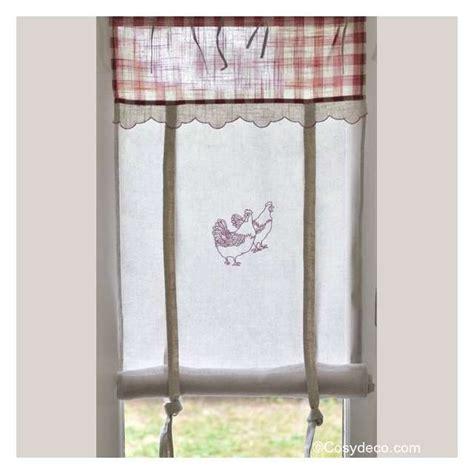 des rideaux de cuisine rideau cuisine largeur 45cm décor poules rouges ambiance cagne