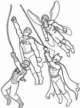 Coloring Super Hero Squad Flying Together Superhero Drawing Template Netart Sketch sketch template