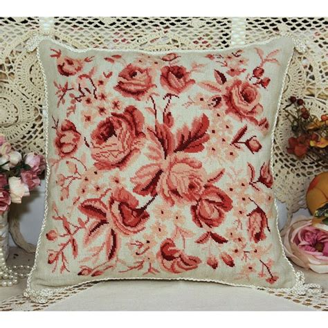Simply Beautiful Chic Shabby Red Roses Needlepoint Pillow