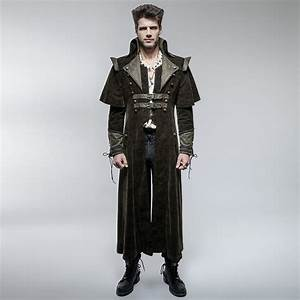 Punk Rave Mens Coat Long Jacket Brown Gothic Steampunk VTG ...