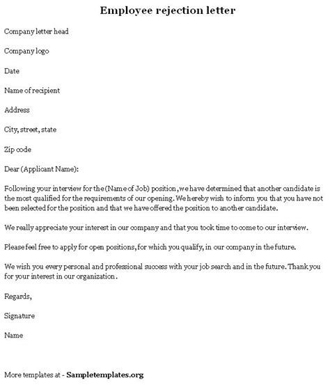 Rejection Letter Exles by Employee Template For Rejection Letter Format Of Employee Rejection Letter Sle Templates