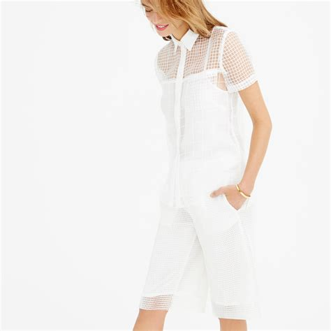 jcrew blouses j crew collection sheer grid blouse in white lyst