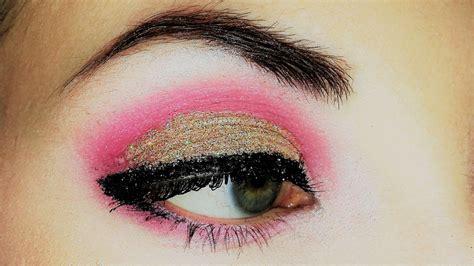 gold glitter  pink eyeshadow makeup youtube